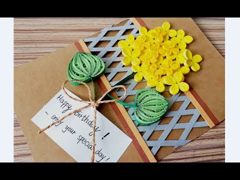 DIY Paper quilling Flower Card Design 31 // Quilling flower card // Greeting Card
