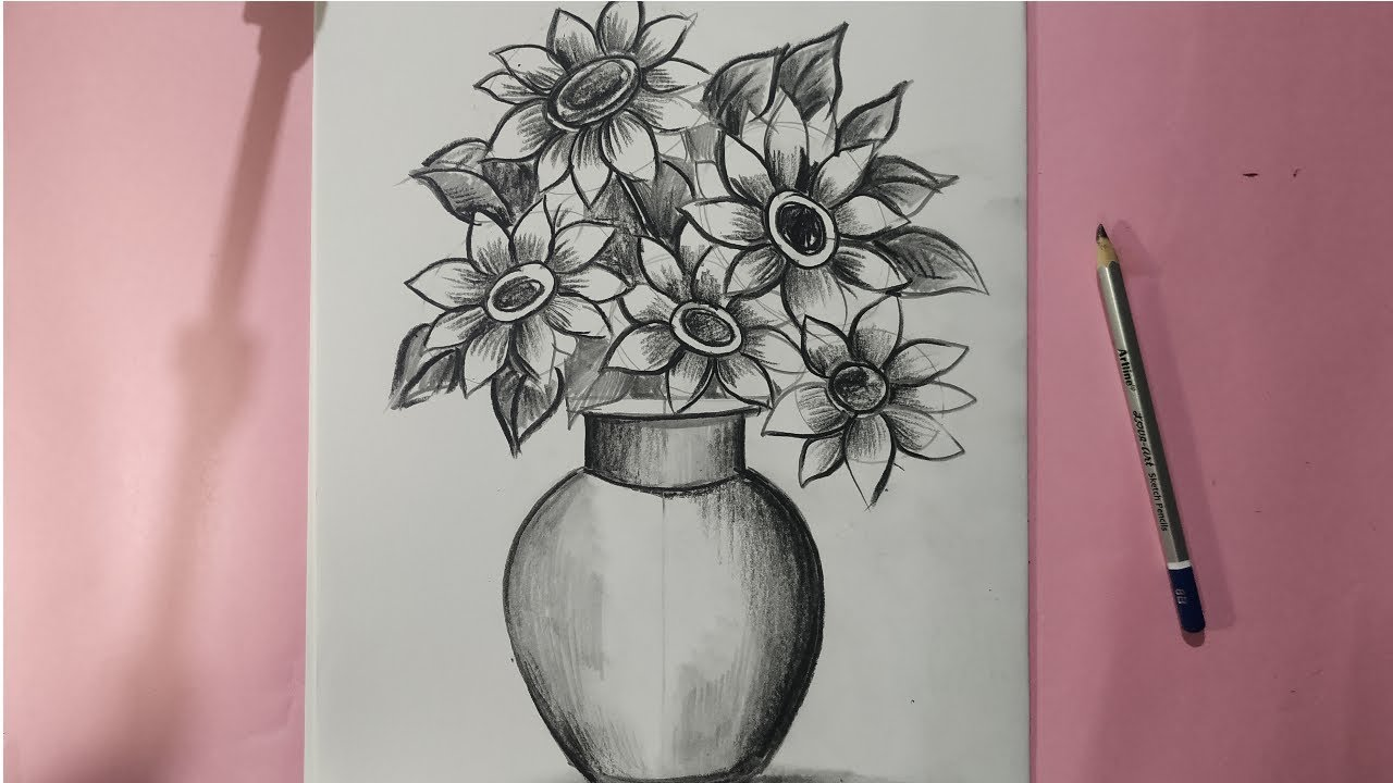 How To Draw Flowars With Vace For Kids Flower Pot Drawing Very Easy Step By Step By Pencil Sketch Youtube