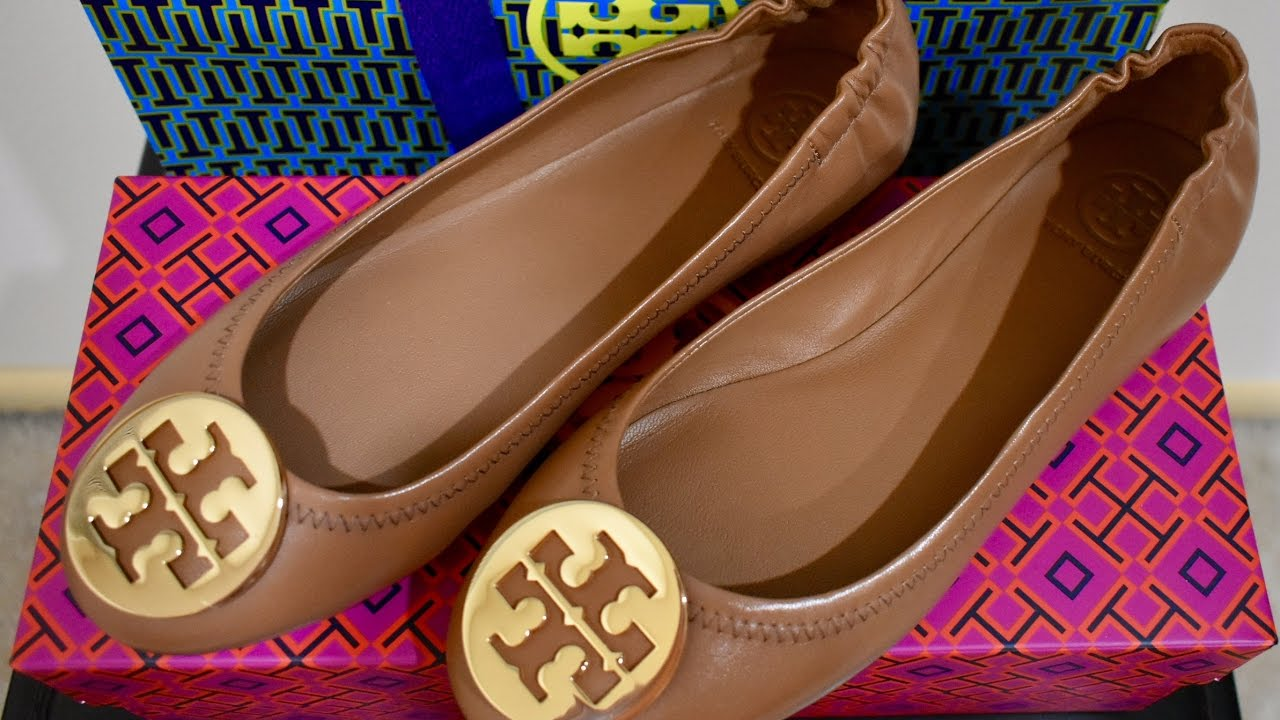 Carol TV | Unboxing: Tory Burch Minnie Travel Ballet Flats (Royal Tan /  Gold)