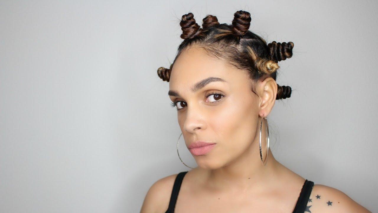 Natural Hair Bantu Knots On Straight Hair Youtube