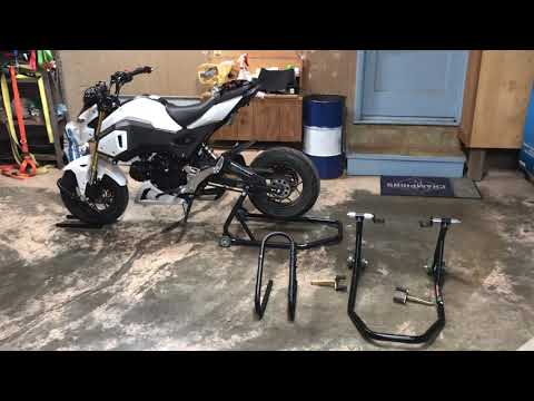 Harbor Freight Motorcycle wheel chocks and Rear/front stands for the Groms