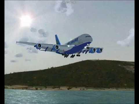 premier atterrissage de l 39 a380 d 39 air cara bes youtube. Black Bedroom Furniture Sets. Home Design Ideas