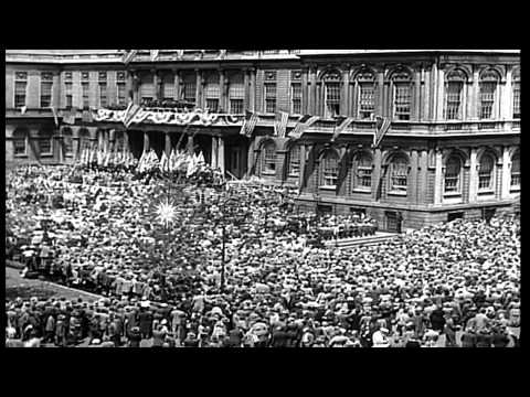 New Yorkers welcome Israeli Prime Minister David Ben Gurion at the City Hall in N...HD Stock Footage