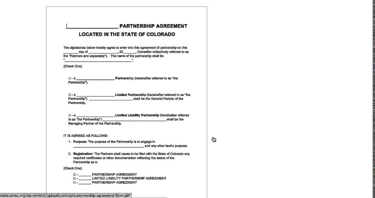 Free Colorado Partnership Agreement Template - (Partnership, LP, LLP ...