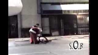 Drunk Santa Vomits, Faceplants off Bike and gets taken down by Mall Cop!
