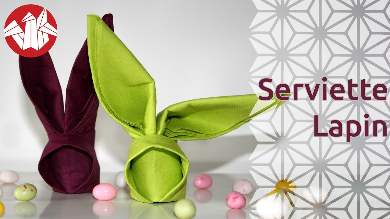 Origami serviette lapin bunny napkin senbazuru youtube - Origami serviette de table ...