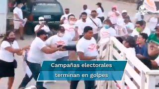 En Puerto Vallarta simpatizantes del Partido Verde Ecologista y del Movimiento Ciudadano protagonizaron una batalla campal en la que un hombre resultó lesionado