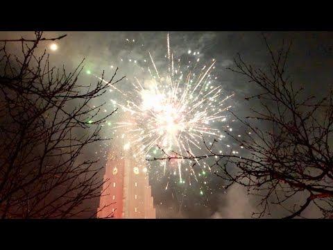 New Year's Eve 2018 Fireworks in Reykjavik, Iceland at Hallgrimskirkja Church