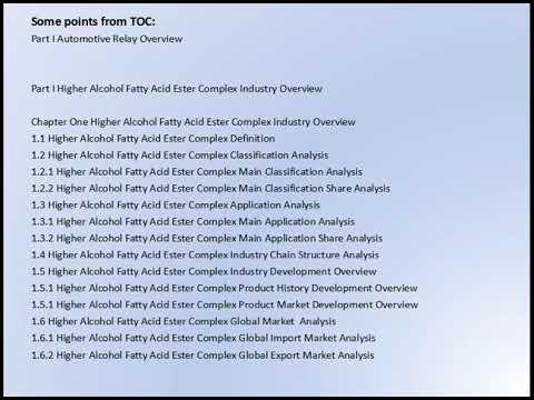 Higher Alcohol Fatty Acid Ester Complex Market Research Report 2017