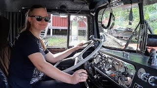 Girlfriend takes the Kenworth for a spin