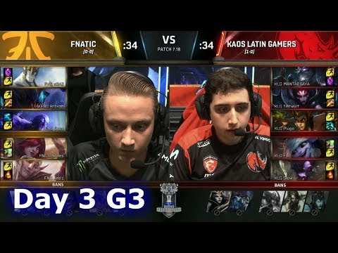 Fnatic vs Kaos Latin Gamers | Day 3 of S7 LoL Worlds 2017 Play-in Stage | FNC vs KLG G1