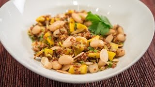 Red Quinoa And Navy Bean Salad With Lime Cumin Vinaigrette