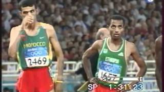 Hicham el guerrouj  athenes  départ: 5000m.Médaille d