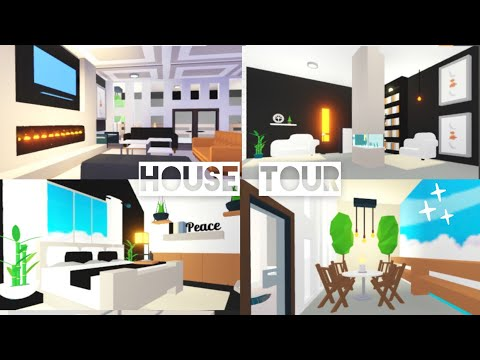 Modern Mansion Balcony House Tour My Curtain Hack Tutorial Adopt Me Roblox Youtube