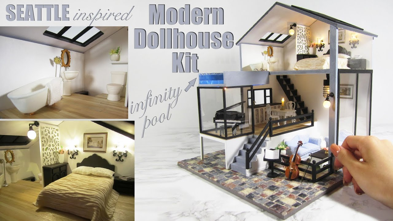 DIY Miniature Seattle Dollhouse Kit (with pool and lights!)