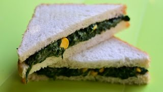 ★ Spinach and Corn Cheese Sandwich | Sandwich Recipes | Food Processor @ Guru's Cooking