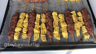 Fırın Yemekleri / Fırında çöp şiş Köfte Patates Nasıl Yapılır? Hem Yağsız Hem De