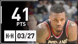 Damian Lillard Full Highlights Blazers vs Pelicans (2018.03.27) - 41 Pts, 9 Reb, 6 Ast!