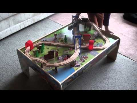 Review of the Kids Wooden 50 piece Train Set with 2 in 1 Activity Table: Very Affordable