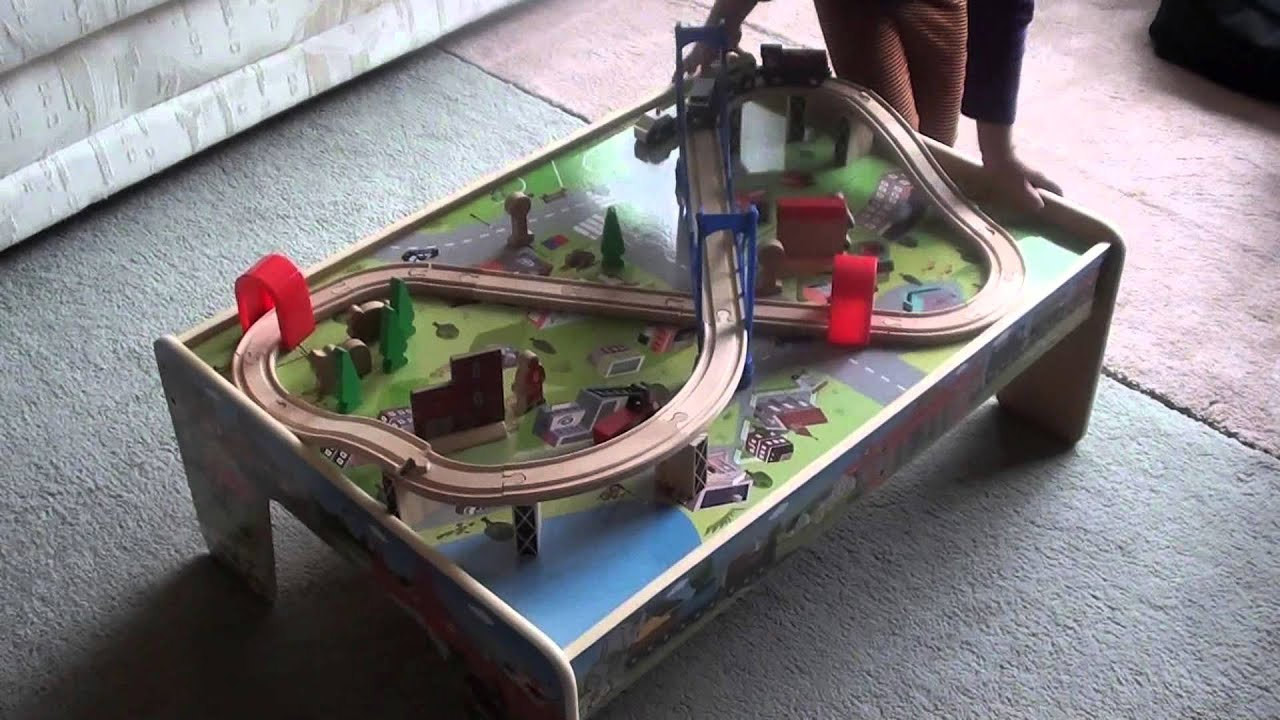 Review Of The Kids Wooden 50 Piece Train Set With 2 In 1 Activity Table:  Very Affordable   YouTube