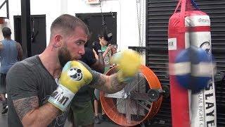 Caleb Plant training inside the Mayweather Boxing Club