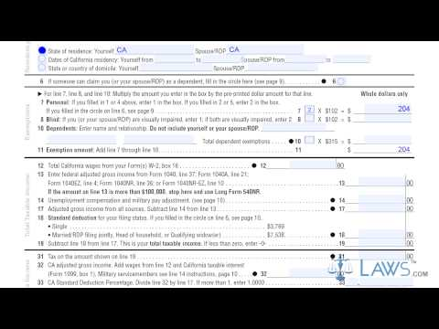 Form 540NR California Nonresident or Part Year Resident Income Tax Return