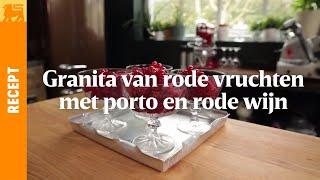 Granita van rode vruchten met porto en rode wijn
