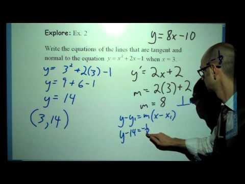IB Calculus: Tangent & Normal Equations (1/14/2016)