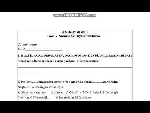 Azərbaycan dili 8-ci sinif BSQ-2 suallarının video həlləri (1-ci hissə)