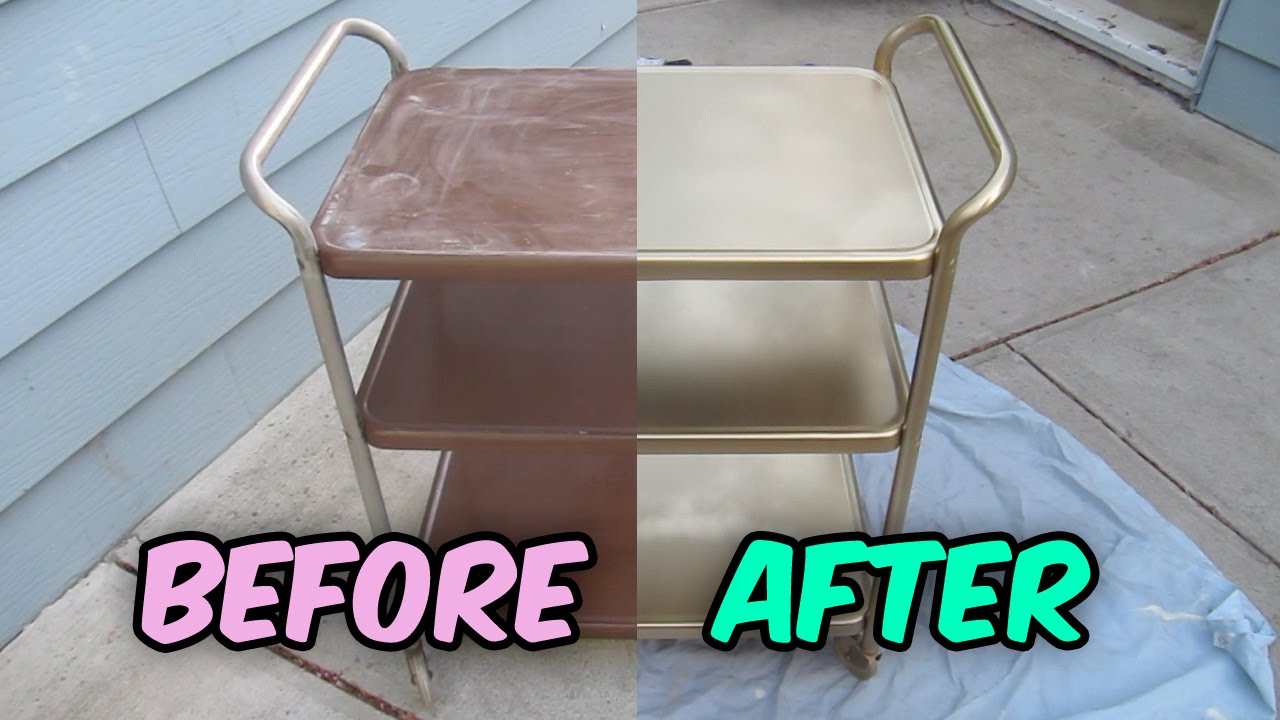 How To Refinish A Vintage Metal Cosco Tea Cart Bar Cart Utility Cart Youtube