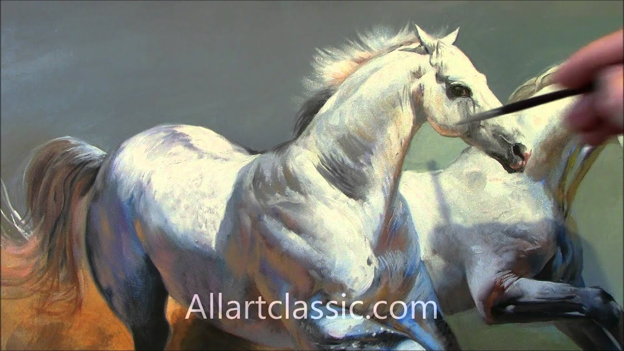 hd video of oil painting quotrunning horsesquot youtube