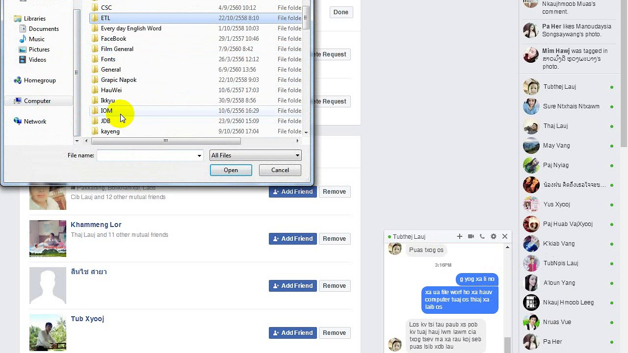 how to send file word in Messenger on computer