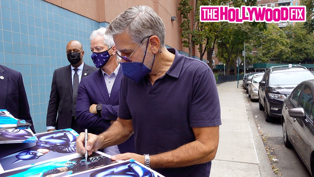 George Clooney Seriously Hooks Fans Up With Lots Of Autographs While Premiering New 'Duel' Movie