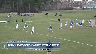 Acton Boxborough Varsity Boys Lacrosse @ Algonquin 4/13/18