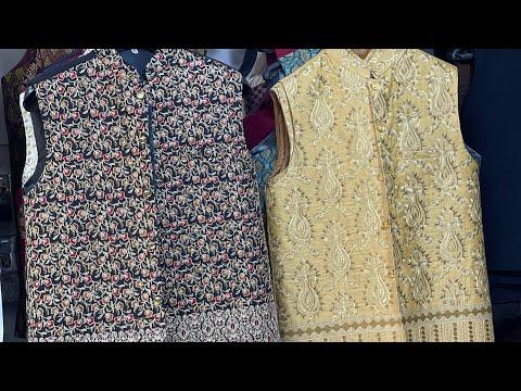 Download Men's wedding waistcoats for grooms mehndi barat outfits masoori atlas fabric