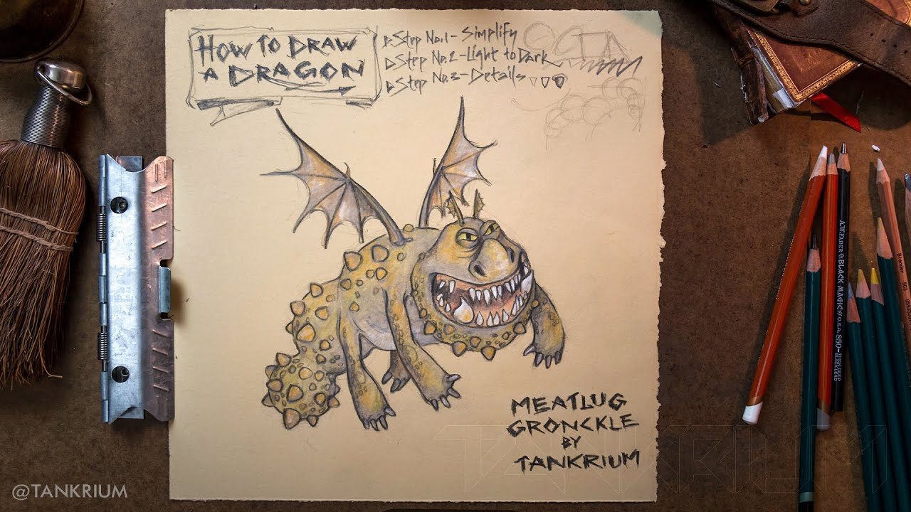 Speed Drawing: Dragon  Meatlug ( How To Draw A Dragon ) Httyd Part 2   Youtube
