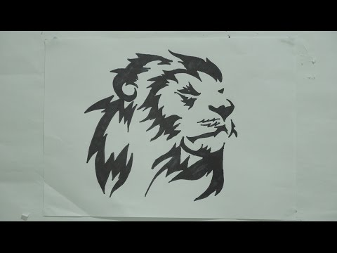 Ep 124 How To Draw Lion Head Tribal Tattoo Design 3 Youtube