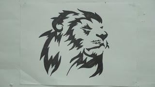 Ep. 124 - How to draw lion head tribal tattoo design #3