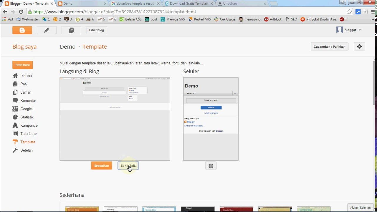 Cara gampang mengganti template blog blogger indravedia blog.