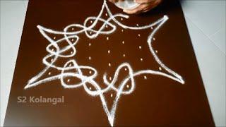 Video Simple sikku kolam with 7 to 4 Interlaced dots - melikala muggulu designs  - easy rangoli designs download MP3, 3GP, MP4, WEBM, AVI, FLV Oktober 2018