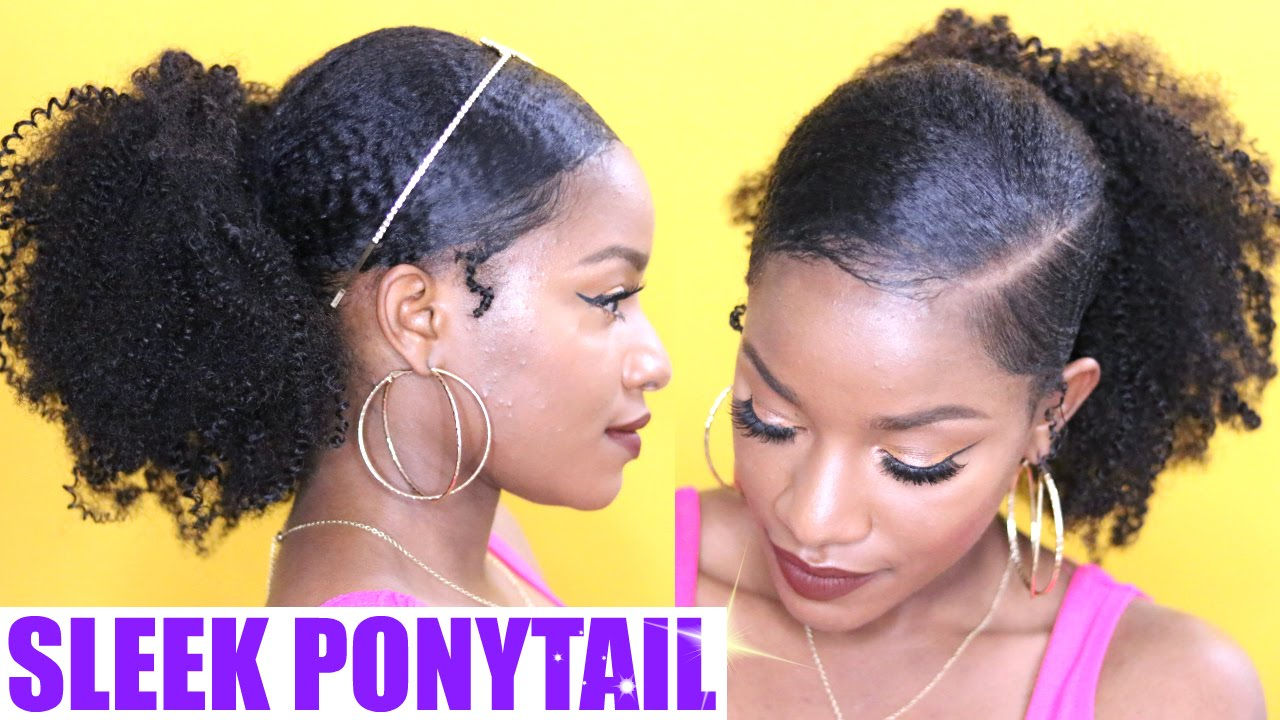 How To Sleek Low Ponytail On Natural Hair Youtube