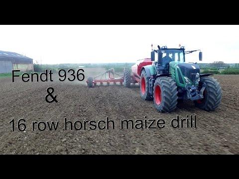 Fendt 936 and 16 row Horsch maize drill