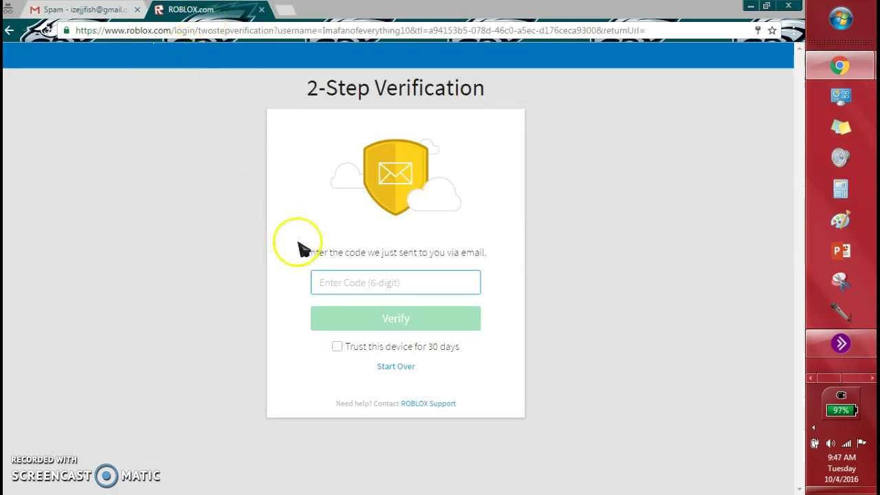 Roblox 2 Step Verification Broken Youtube