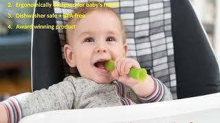 Olababy Silicone Soft Tip Training Spoon Teether Baby Led Weaning 2 pack