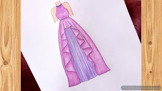 Mor Abiye Çizimi 💜 Adım adım elbise çizimi