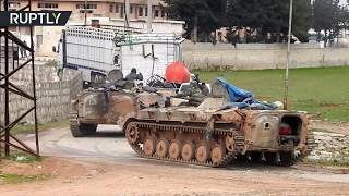 Syrian military reinforcements convoy heads towards Idlib