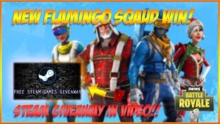 NEW FLAMINGO SQUAD?! SQUAD WIN + HUMAN FAlL FLAT GIVEAWAY! Fortnite Battle Royale // Suppl Gaming