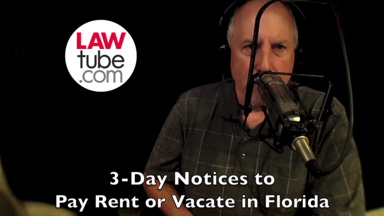 3 day notices to pay rent or vacate in florida youtube