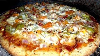 बिना ओवन के कढ़ाई मे पिज्जा बनाने का सबसे आसान तरीका | Cheesy Atta Pizza in Kadai | Veg Cheese Pizza