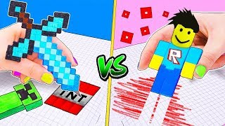 MINECRAFT Hacks vs ROBLOX Hacks and Ideas from the games for the School! LIFE HACKS